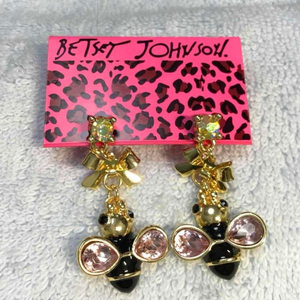 Betsey Johnson Black Enamel Bee Pink Crystal & Bow Earrings