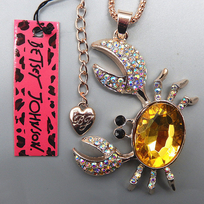 Betsey Johnson Yellow Crab & Clear Crystal Rhinestone Gold Necklace