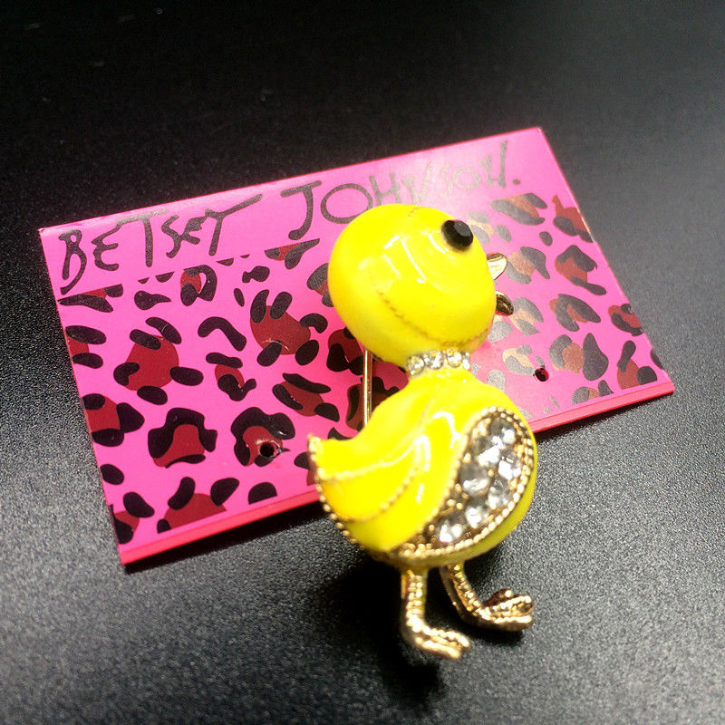 Betsey Johnson Small Duck Yellow Enamel Brooch Pin