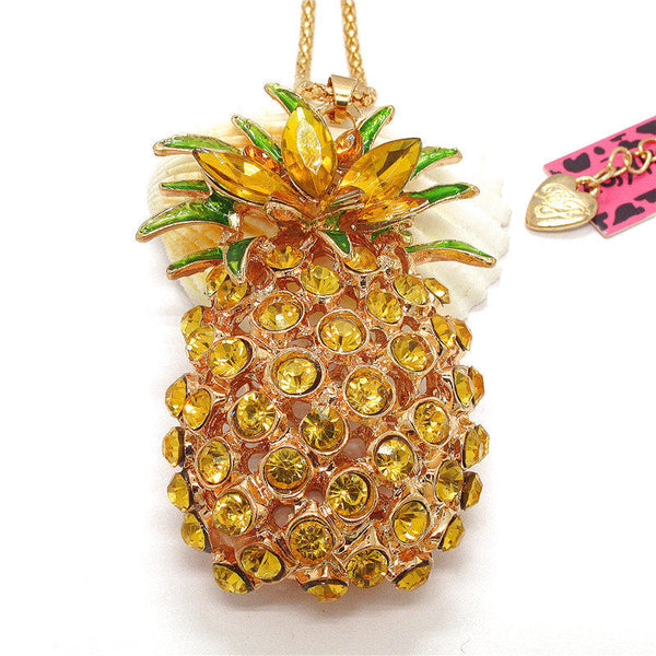 Betsey Johnson Yellow & Green Crystal Pineapple Gold Necklace
