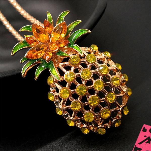 Betsey Johnson Pineapple Golden Rhinestone Gold Necklace