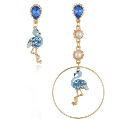 Betsey Johnson Blue Flamingo Crystal Mismatch Earrings