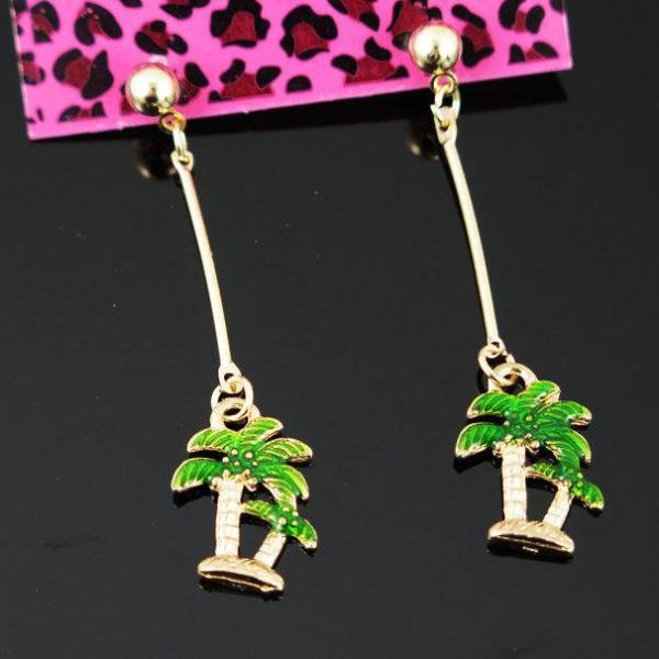 Betsey Johnson Palm Tree Gold Ball Dangle Long Earrings