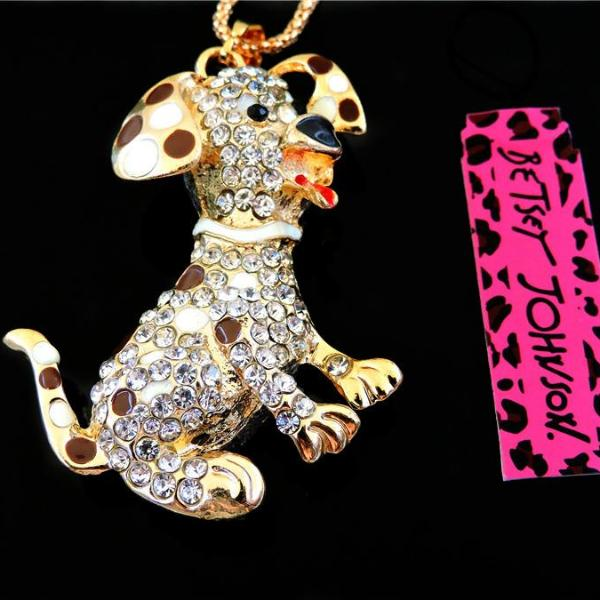 Betsey Johnson Brown Enamel Spotted Crystal Puppy Dog Gold Necklace