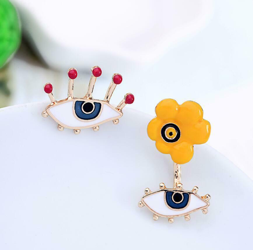 Betsey Johnson Evil Eye Flower Mismatch Earrings
