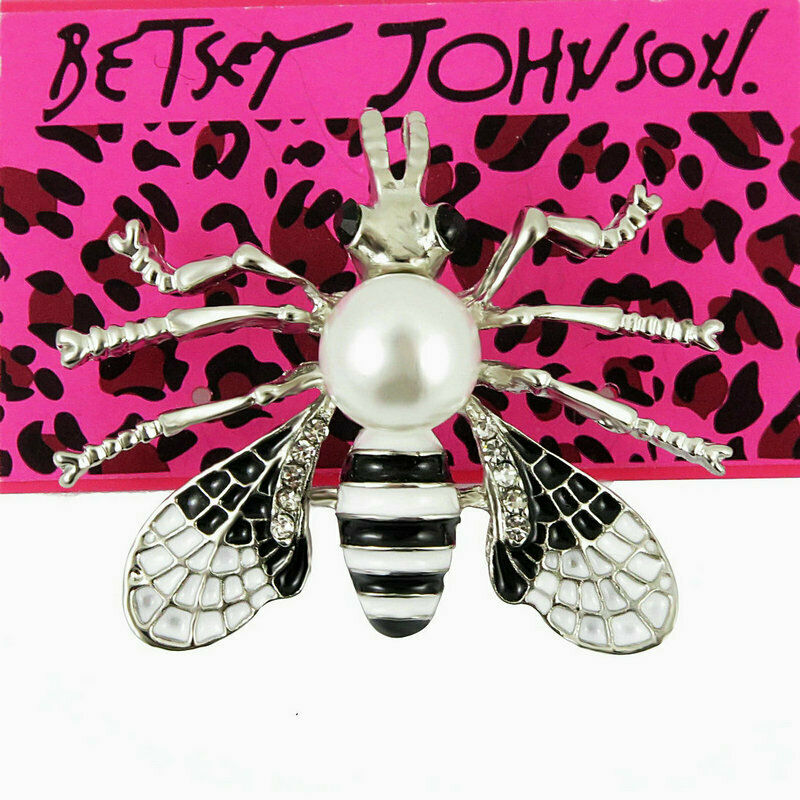 Betsey Johnson Black & White Bumble Bee Crystal Faux Pearl Brooch Pin