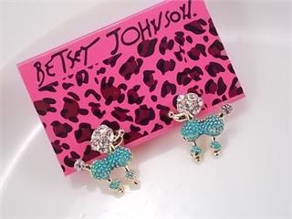 Betsey Johnson Poodle Dog Blue Rhinestone Earrings