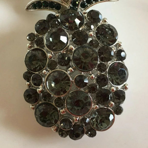 Betsey Johnson Pineapple Black Crystal Silver Necklace