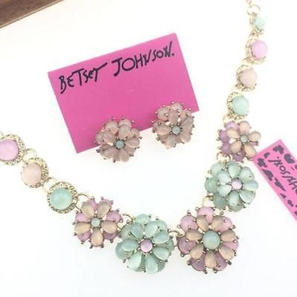 Betsey Johnson Blue & Pink Flowers Crystal Necklace & Earrings Set
