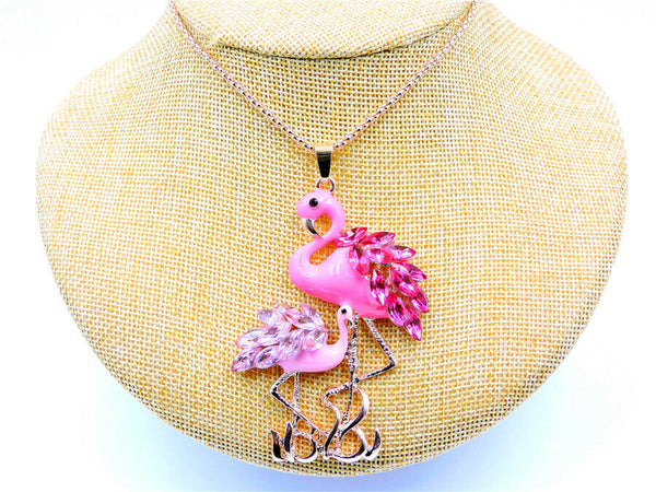 Betsey Johnson Pink Flamingo With Baby Pendant Necklace