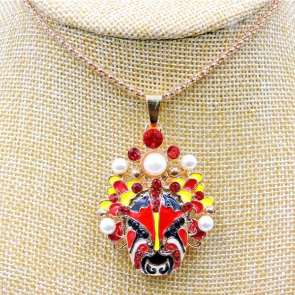 Betsey Johnson Face Mask Red Crystals Pendant Necklace