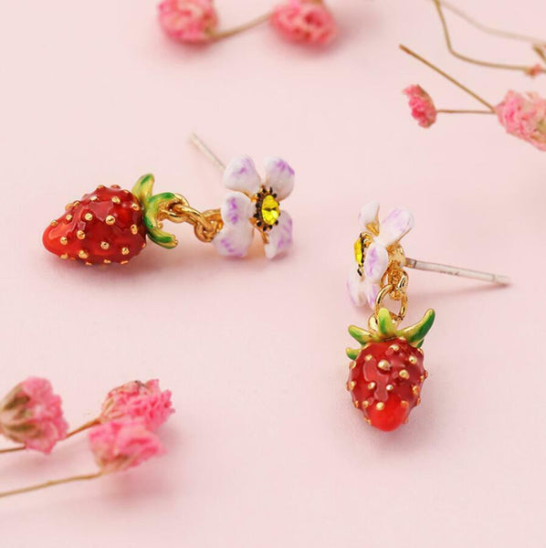 Betsey Johnson Strawberry Flower Earrings