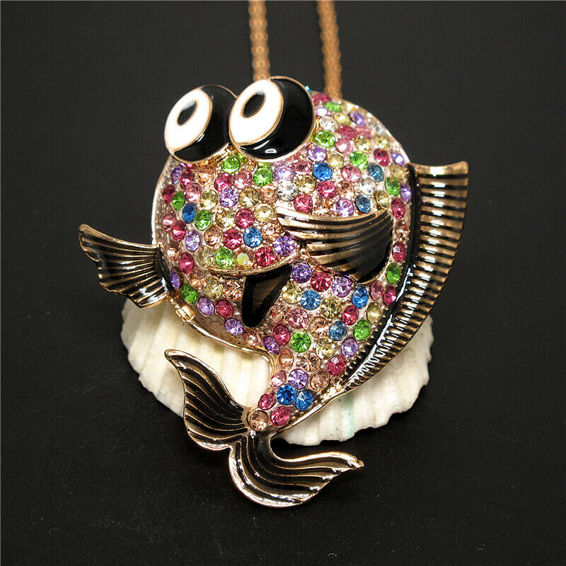Betsey Johnson Multi-Color Crystal Bubble Fish Gold Pendant Necklace