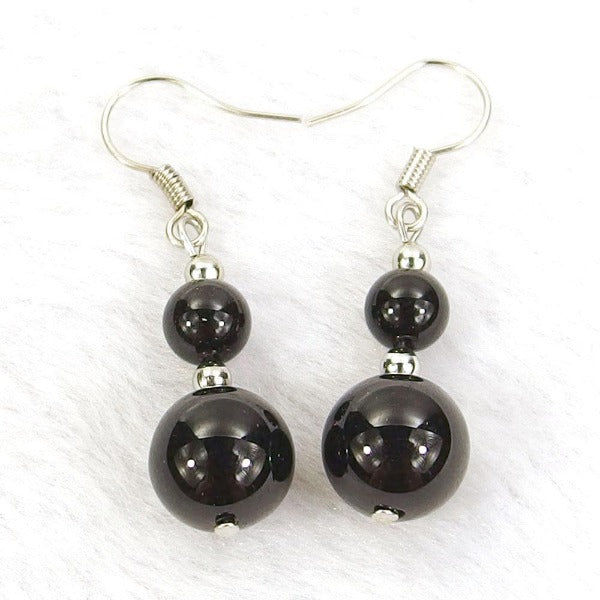 Black Agate Natural Gemstone Earrings