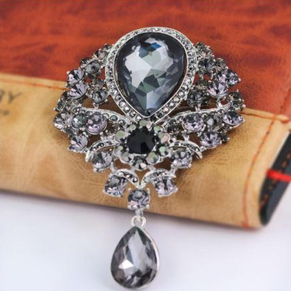 Vintage Black Crystal Teardrop Silver Brooch