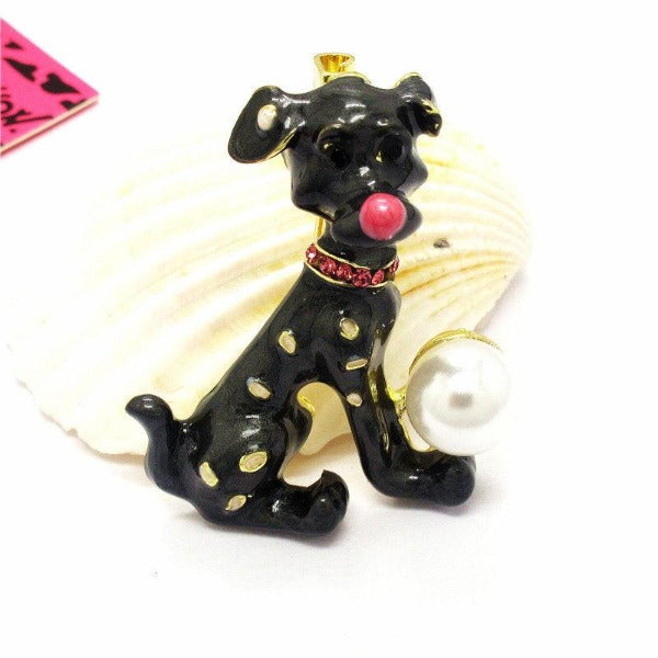Betsey Johnson Spotted Dog Black Enamel Pearl Ball Brooch Pin