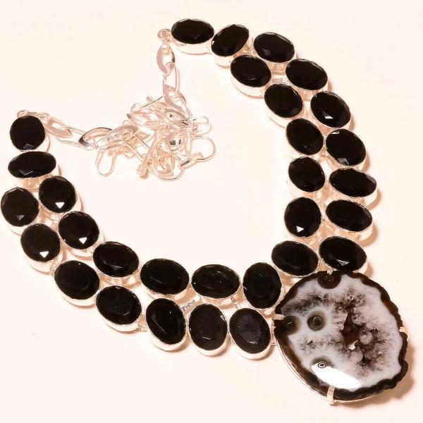 Black Botswana Agate Druzy Black Spinel Handcrafted Necklace 18""