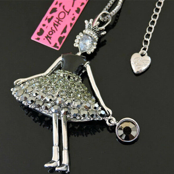 Betsey Johnson Girl Wearing Crown Crystal Pendant Necklace