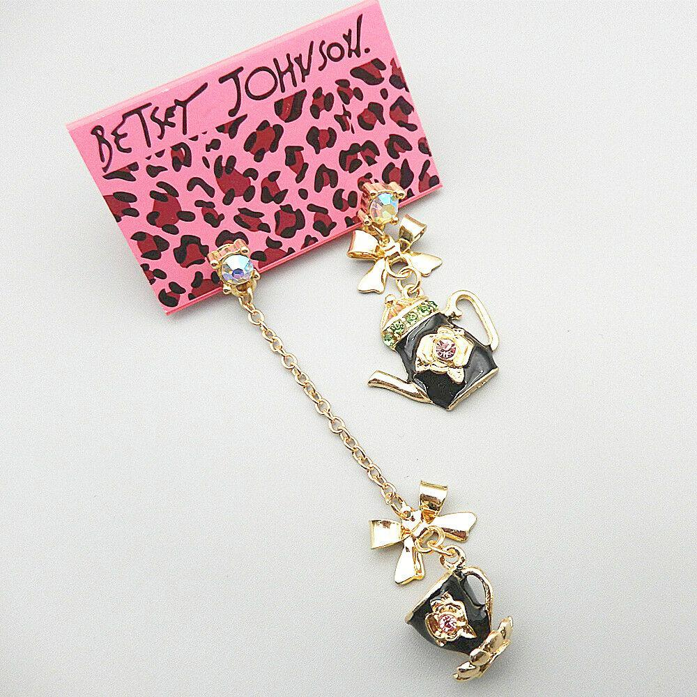 Betsey Johnson Black Enamel Crystal Teapot Cup Dangle Earrings