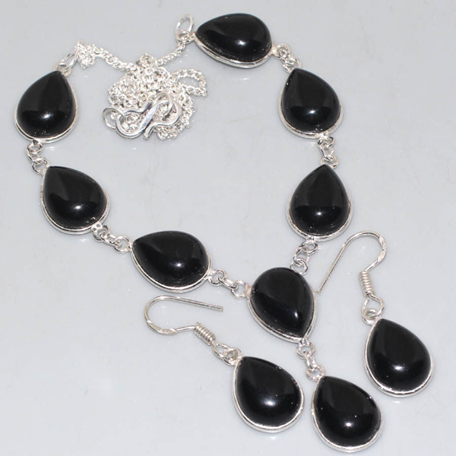 Black Onyx .925 Silver Plated Necklace & Earring Set 18""