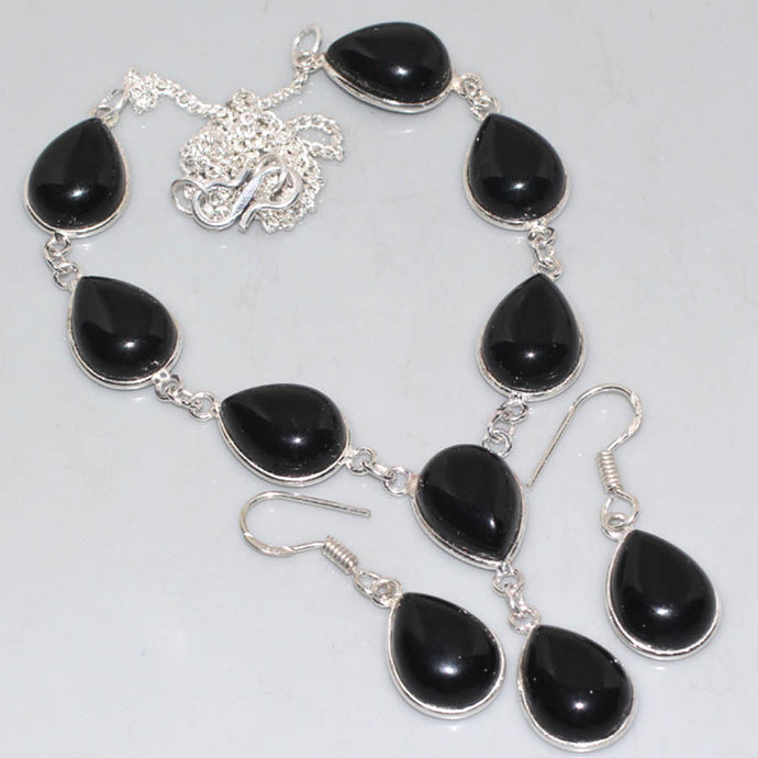 Black Onyx .925 Silver Plated Necklace & Earring Set 18