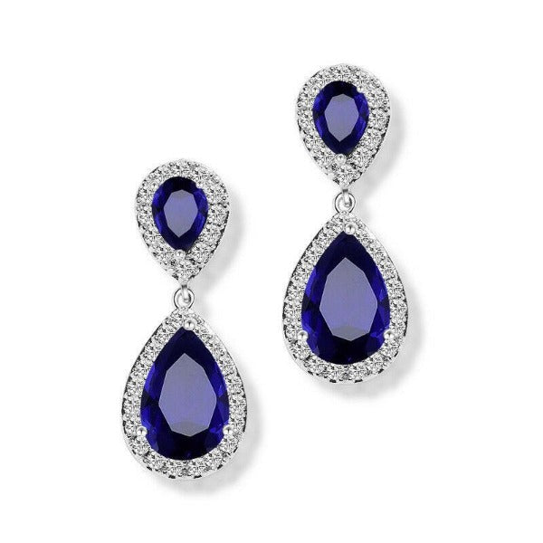 Blue & White Crystal Rhinestone Silver Teardrop Dangle Earrings