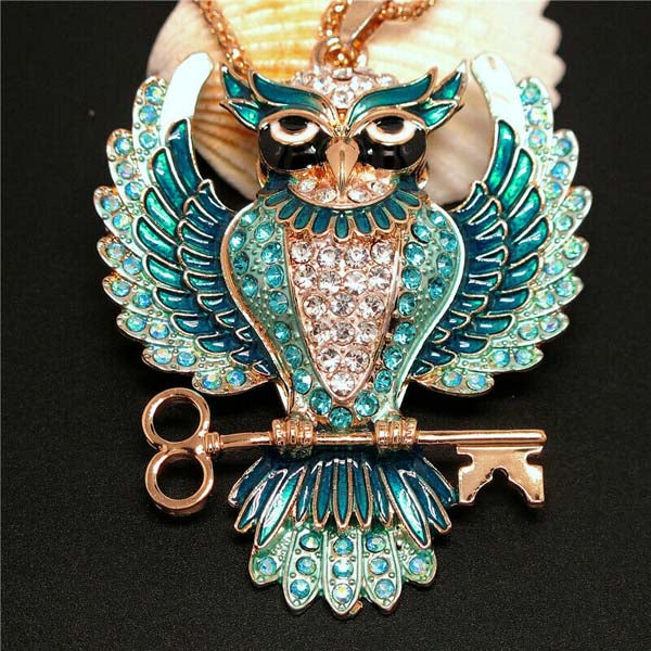 Betsey Johnson Owl Blue Rhinestones Crystal Eyes Gold Necklace