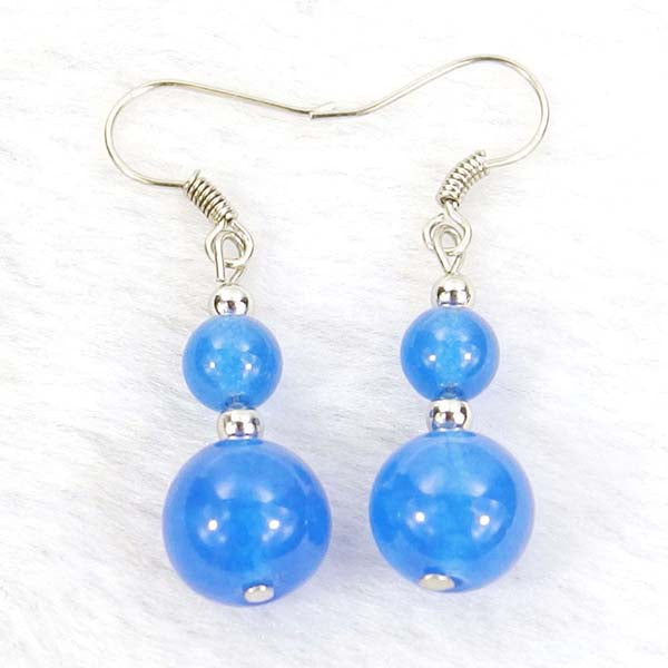 Blue Jade Natural Gemstone Silver Earrings