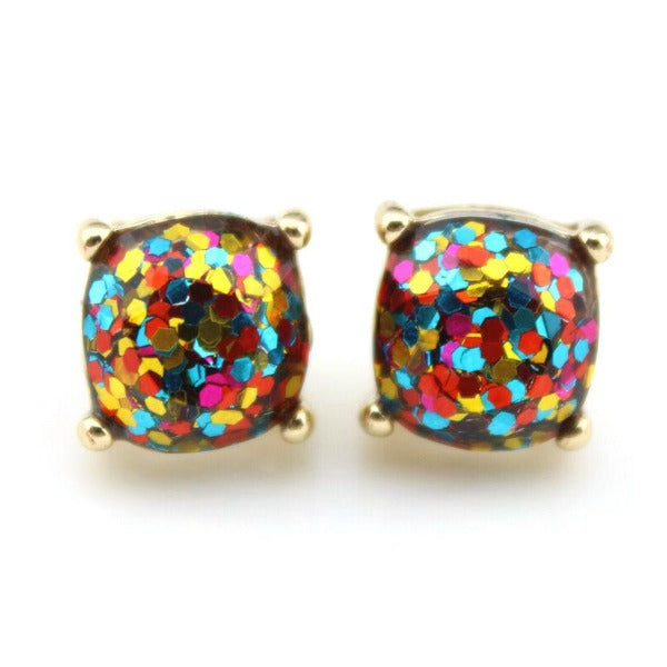 Blue Rainbow Glitter Gold Tone Earrings