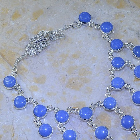 BLUE CHALCEDONY .925 SILVER PLATED GEMSTONE NECKLACE 19 3/4""