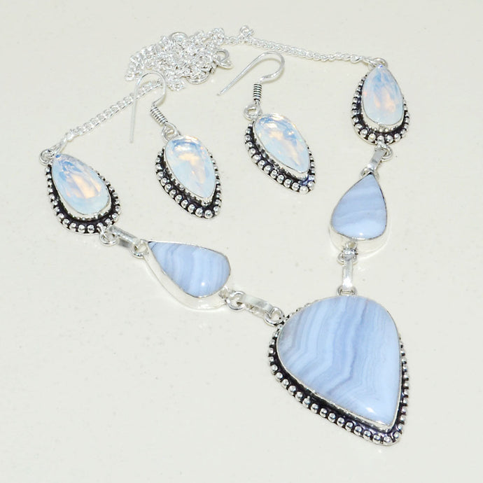 Blue Lace Agate & Opalite .925 Silver Plated Necklace & Earrings Set 44 Grams