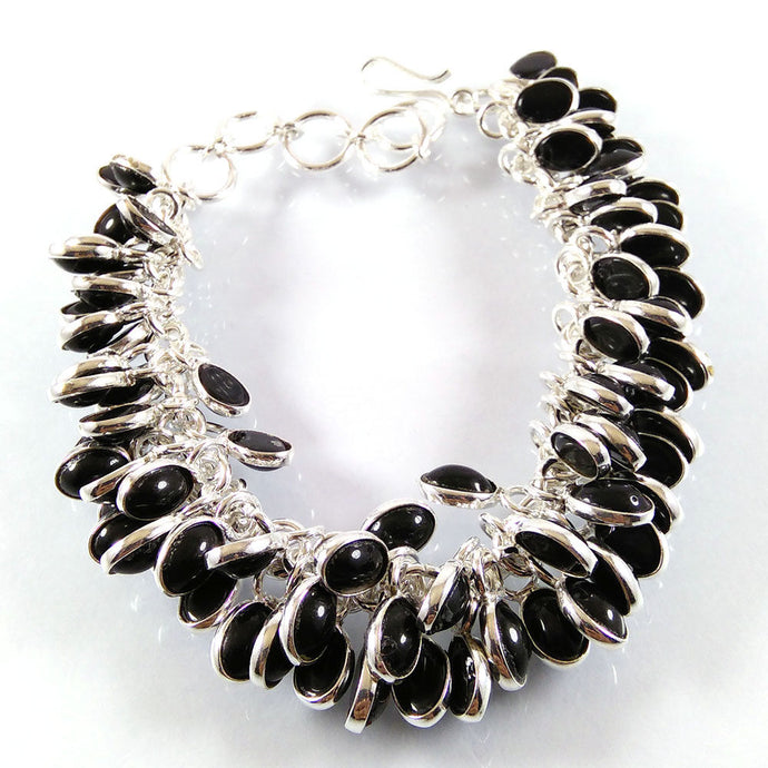 Black Onyx Handmade .925 Silver Plated Grapes Dangle Bracelet