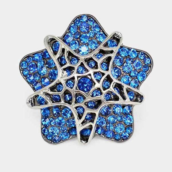 Blue Star Rhinestone Silver Stretch Ring