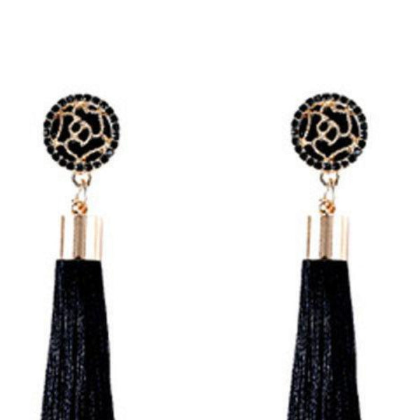 Black Bohemian Boho Long Tassel Fringe Earrings