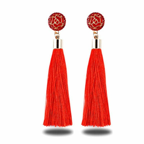 Red Bohemian Boho Long Tassel Fringe Earring