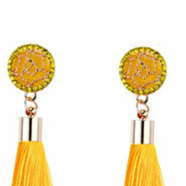 Yellow Bohemian Boho Long Tassel Fringe Earring