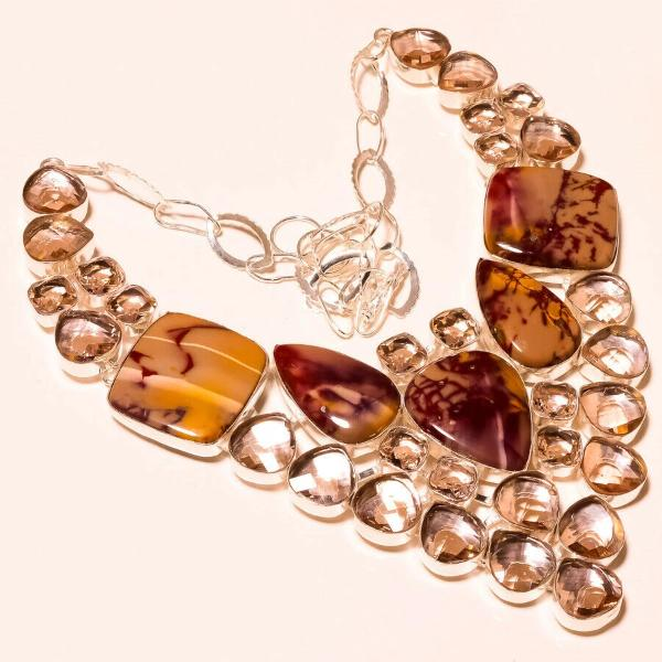 Braccited Mookaite, Faceted Morganite Silver Plated Necklace 18""