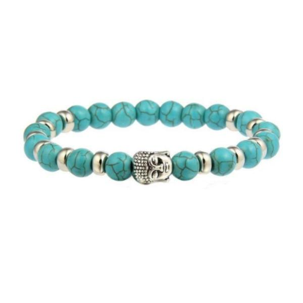 Buddha Head Natural Blue Lava Stone 8MM Stretch Bracelet
