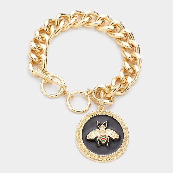 Honey Bee Accented Round Charm Toggle Bracelet