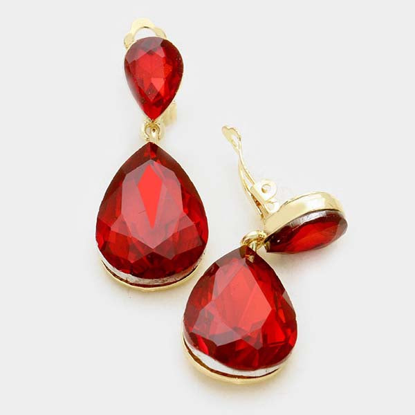 Red Crystal Double Teardrop Gold Clip-On Earrings