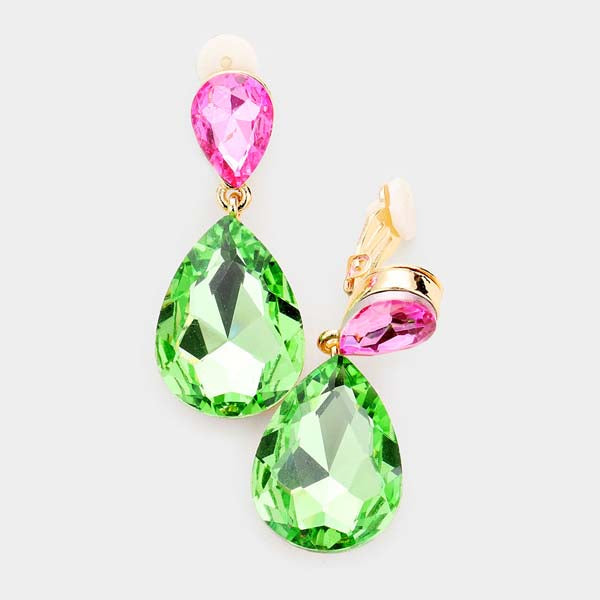Pink & Green Crystal Double Teardrop Clip-On Earrings