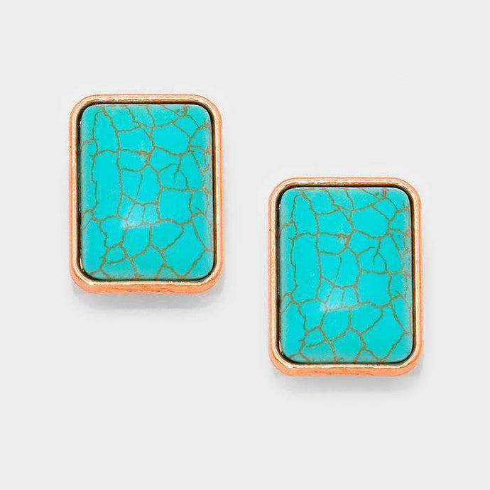 Turquoise Blue Rectangle Copper Clip-On Earrings