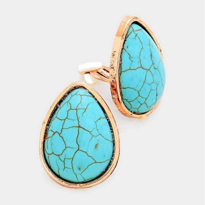 Turquoise Blue Teardrop Copper Burnished Clip-On Earrings