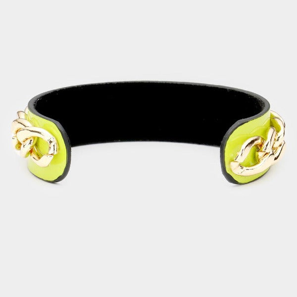 Honey Bee Green Chain Cuff Bracelet
