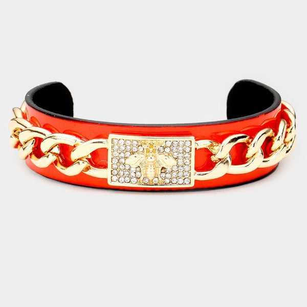 Honey Bee Red Chain Cuff Bracelet