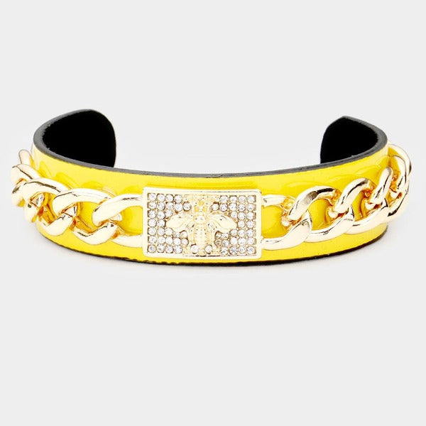 Honey Bee Yellow Metal Chain Cuff Bracelet