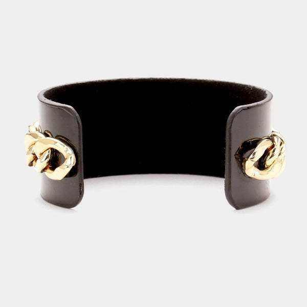Pearl Honey Bee Black Metal Chain Cuff Bracelet