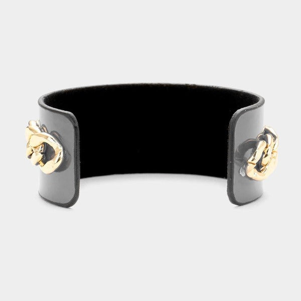 Pearl Honey Bee Gray Metal Chain Cuff Bracelet