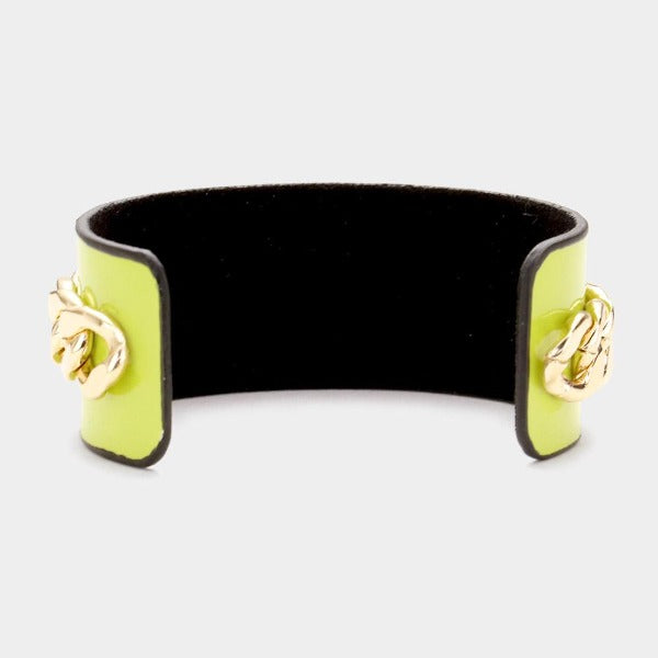Pearl Honey Bee Green Metal Chain Cuff Bracelet
