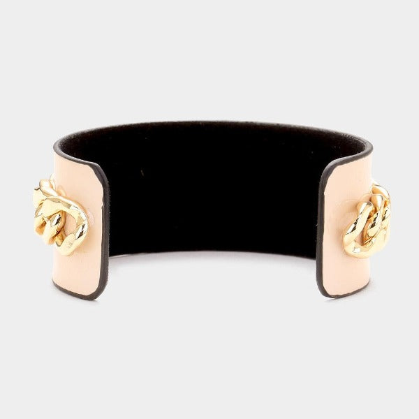 Pearl Honey Bee Pink Metal Chain Cuff Bracelet